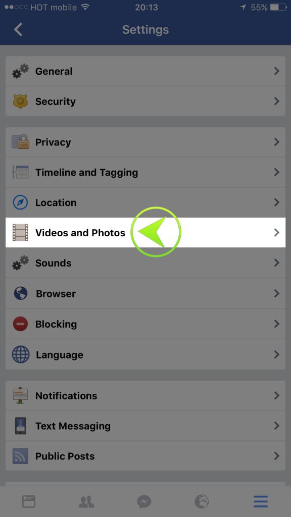 שלב שלישי לחצו על וידאו ותמונות